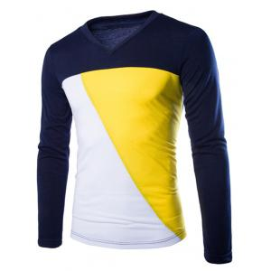 Color Splicing V-Neck Long Sleeve T-Shirt For Men