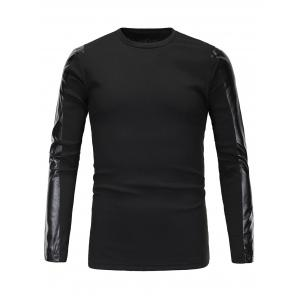 Ribbed Faux Leather Spliced Long Sleeve T-Shirt For Men - Black - L