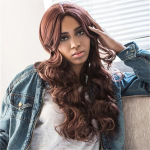 Charming Brown Mixed Synthetic Fluffy Wave Middle Part Wig For Women