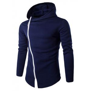 Stylish Diagonal Zipper Design Long Sleeve Hoodies For Men