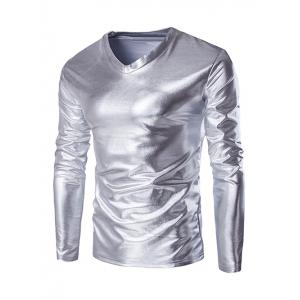 Fahionable V-Neck Long Sleeve Shiny T-Shirt For Men
