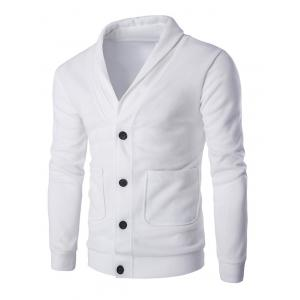 Button Up Shawl Collar Long Sleeve Cardigan - White - Xl
