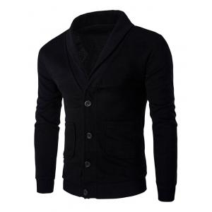 Button Up Shawl Collar Long Sleeve Cardigan - Black - 2xl