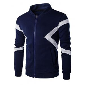 Color Splicing Napping Zip Up Long Sleeve Jacket For Men