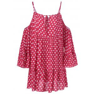 Cold Shoulder Polka Dot Print Mini Dress