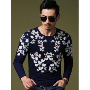 Wintersweet Print Slim Fit Round Neck Long Sleeve Tee For Men