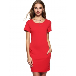 Short Sleeve Casual Dress With Pockets -