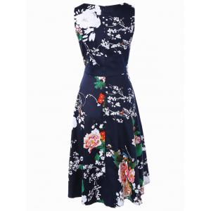 Floral Print Vest Midi Flare Dress - DEEP BLUE XL