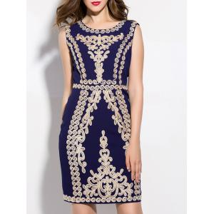 Vintage Embroidered Slimming Sheath Dress