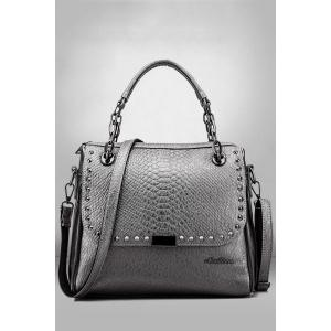 Rivets Tote Bag - Silver Gray - 40