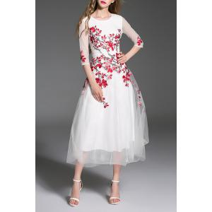 Gorgeous Embroidered Tulle Maxi Evening Prom Dress