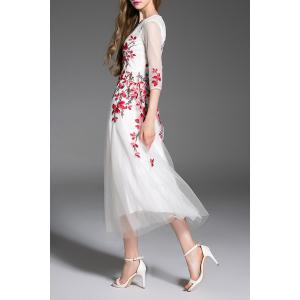 Gorgeous Embroidered Tulle Maxi Evening Prom Dress - WHITE M