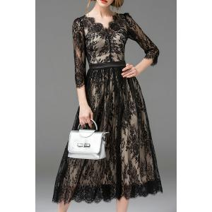 A Line Lace Maxi Cocktail Dress