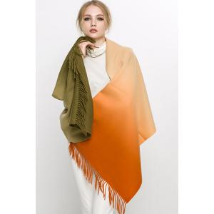 Gradient Print Tassel Scarf - Orange