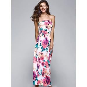 Strapless Floral Printed Maxi Dress -