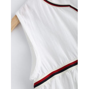 Causal Striped Hem White Tank Top For Women -