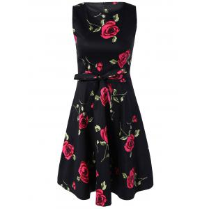 Retro Style Sleeveless High Waist Floral Print Women's Dress -