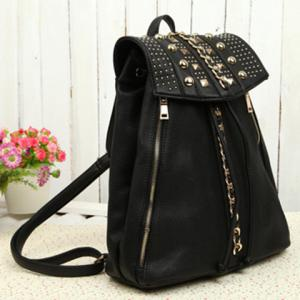 Stylish Black and Chains Design Backpack For Women -