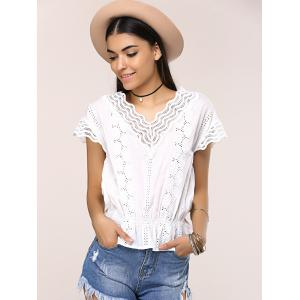 Openwork Wave Cut Frilled Blouse -