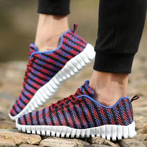 Trendy Colour Splicing and Tie Up Design Athletic Shoes For Men -
