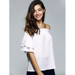 Nice Off The Shoulder Ruffle Sleeve PureColor Blouse -