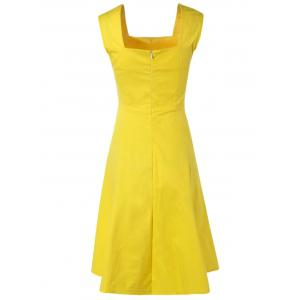 Retro Women's Pure Color Ruched Flare Dress -