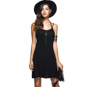 Spaghetti Strap Pure Color Backless Dress - Noir S