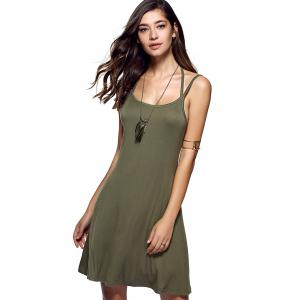 Spaghetti Strap Pure Color Backless Dress - Vert Armée M