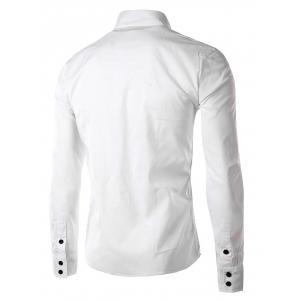 Stripe Panel Casual Long Sleeve Military Shirt - WHITE M