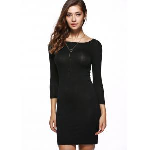 Elegant Pure Color Stretchy Bodycon Dress -