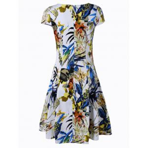 Retro Women's V-Neck Ruched Floral Print Flare Dress - BLUE AND YELLOW 2XL