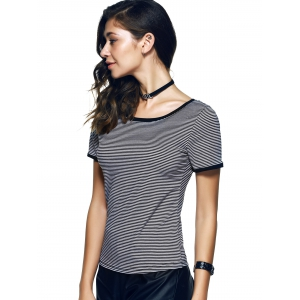 Ringe Pinstripe Print Slimming-Fitted T-Shirt -