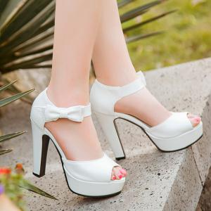 Talon Chunky Sweet and bowknot design Sandales pour les femmes -