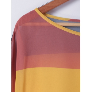 Casual Color Block High Low Loose Fitting T-Shirt -