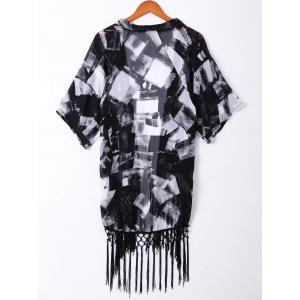 Stylish Print Fringe Short Sleeves Kimono For Women -
