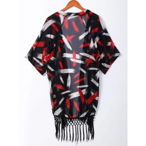 Fashionable Print Fringe Short Sleeves Kimono For Women -