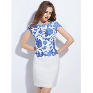 Elegant Embroidered Mini Sheath Dress -