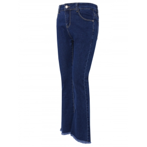 Stylish Pocket Design Fringed Solid Color Women's Jeans -