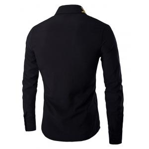 Golden Leaves Embroidered Shirt Collar Long Sleeves Shirt - BLACK L