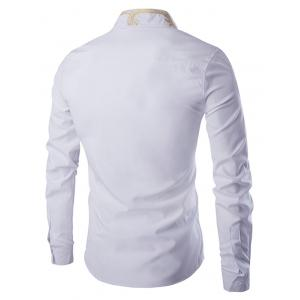 Golden Embroidery Solid Color Long Sleeves Shirt For Men - WHITE M