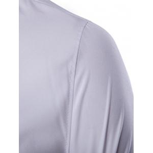 Golden Embroidery Solid Color Long Sleeves Shirt For Men - WHITE 2XL