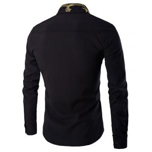 Golden Embroidery Solid Color Long Sleeves Shirt For Men - BLACK XL