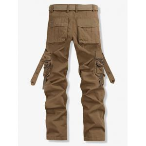 Loose Fit Trendy Solid Color Multi-Pocket Straight Leg Men's Cotton Blend Cargo Pants - KHAKI 40