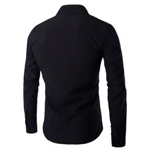 Gloden Star Rivets Design Shirt Collar Long Sleeves Shirt For Men - BLACK M