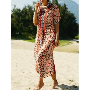 Stylish V Neck Print Women's Cover Up Maxi Dress -