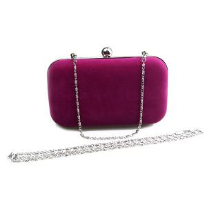 Graceful Solid Color and Metal Design Evening Bag For Women -