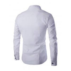 Double-Breasted Solid Color Shirt Collar Long Sleeves Shirt For Men -