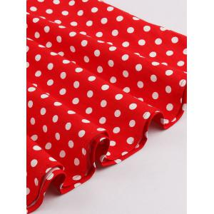 Vintage 3/4 Sleeve Button Design Polka Dot Women's Dress -