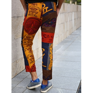 Lace-Up Color Block Spliced Totem Print Nine Minutes of Pants For Men -