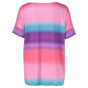 Short Sleeves Round Collar Tie-Dyed T-Shirt - COLORMIX XL